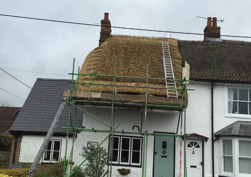 Setting up thatching process